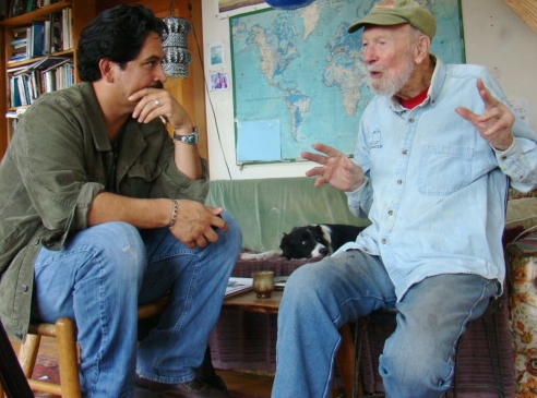 In conversation, at the home of Pete Seeger.